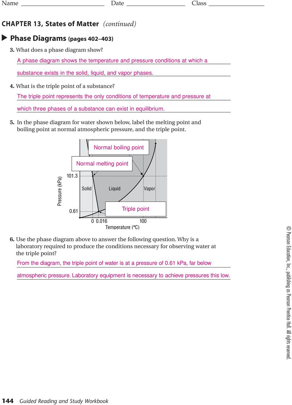 hight resolution of the triple point represents the only conditions of temperature and pressure at which three phases of