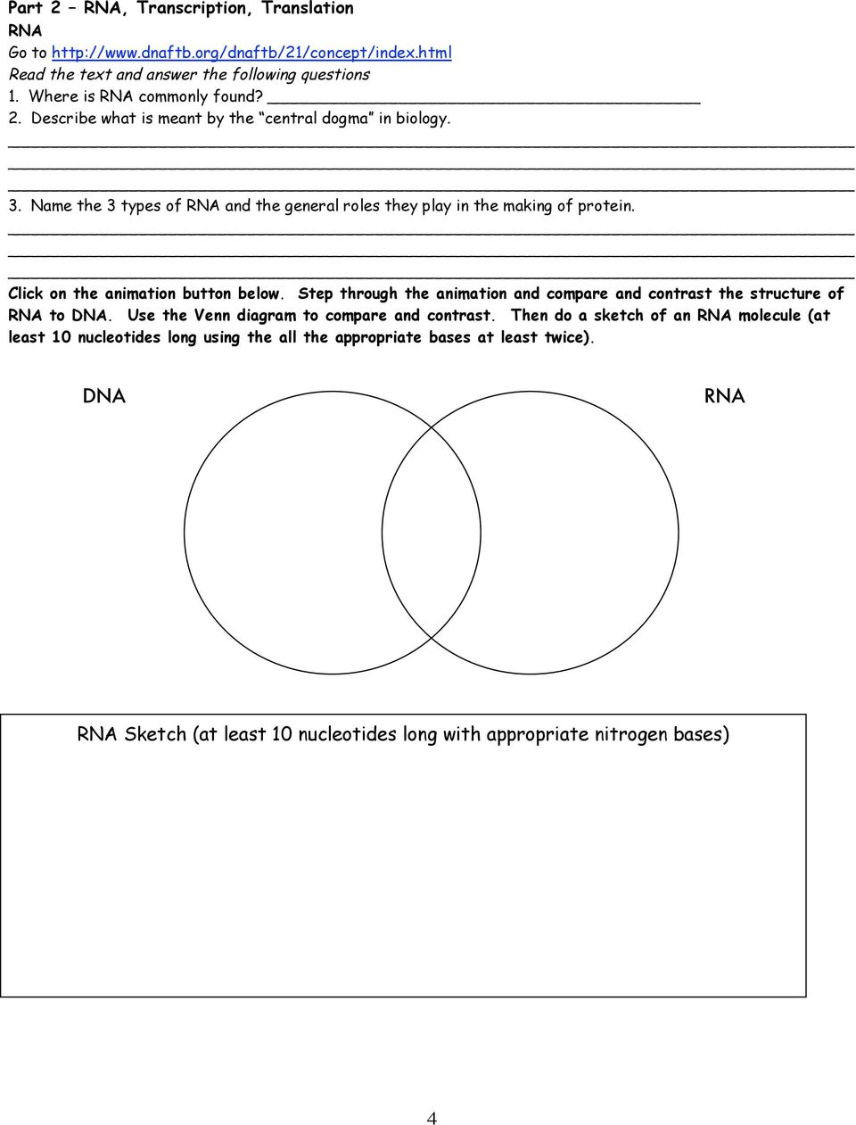 venn diagram comparing dna and rna pioneer deh x6900bt wiring name date period unit webquest pdf step through the animation compare contrast