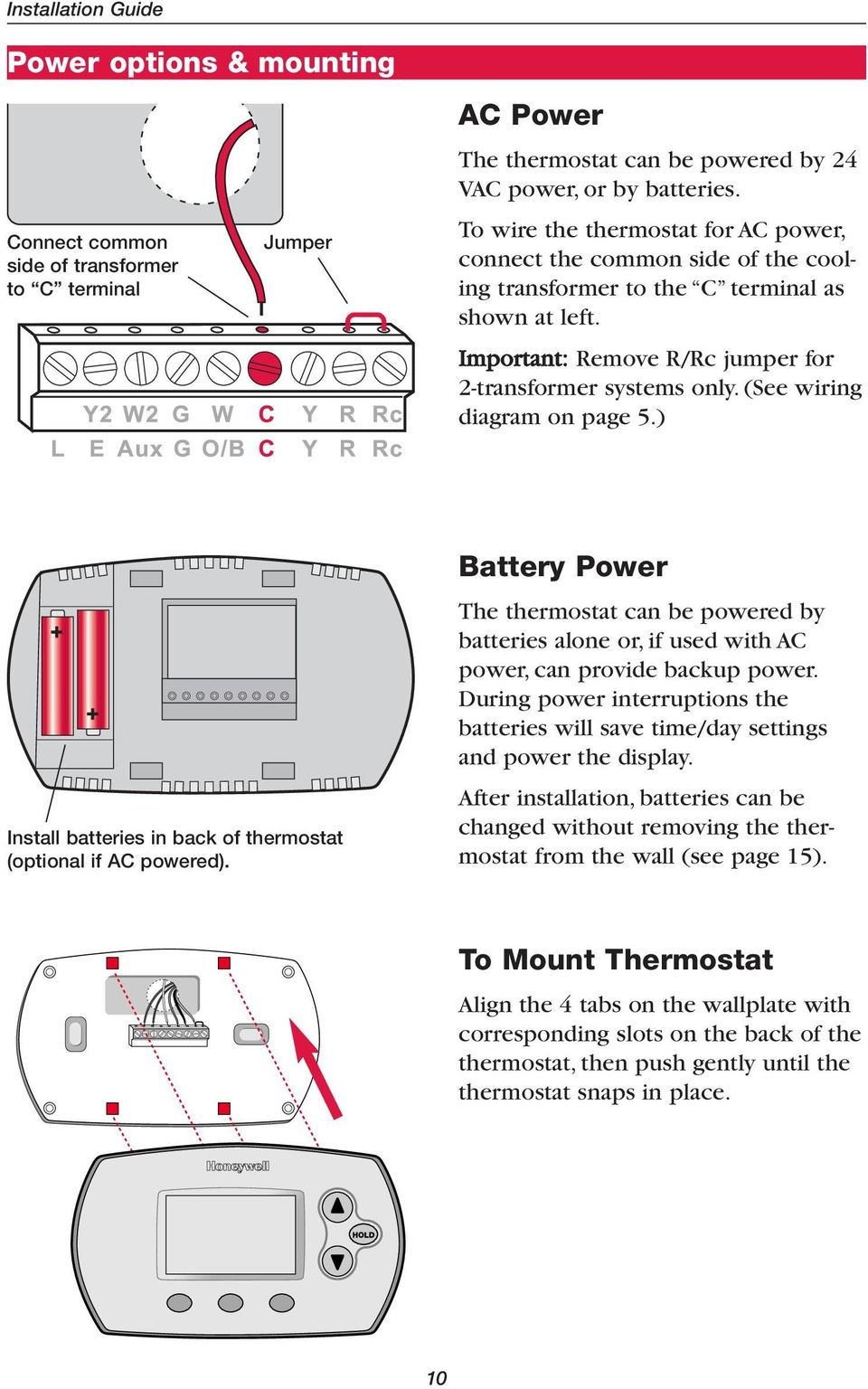 medium resolution of  see wiring diagram on page 5 install batteries in back of thermostat