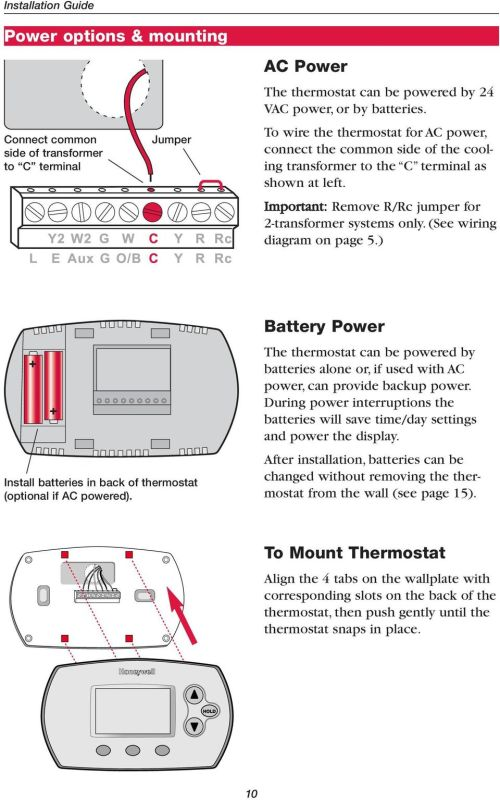 small resolution of  see wiring diagram on page 5 install batteries in back of thermostat