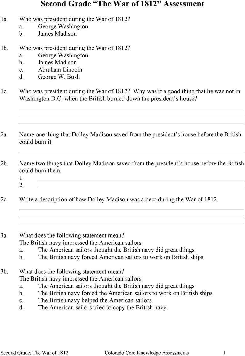 medium resolution of Second Grade The War of 1812 Assessment - PDF Free Download