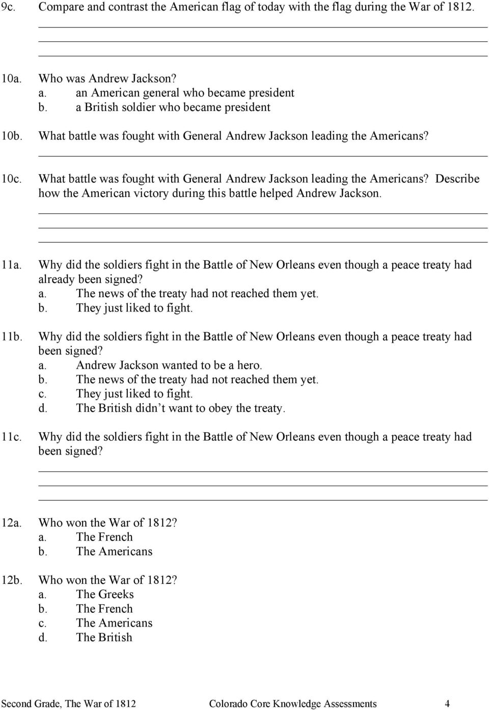 hight resolution of Second Grade The War of 1812 Assessment - PDF Free Download