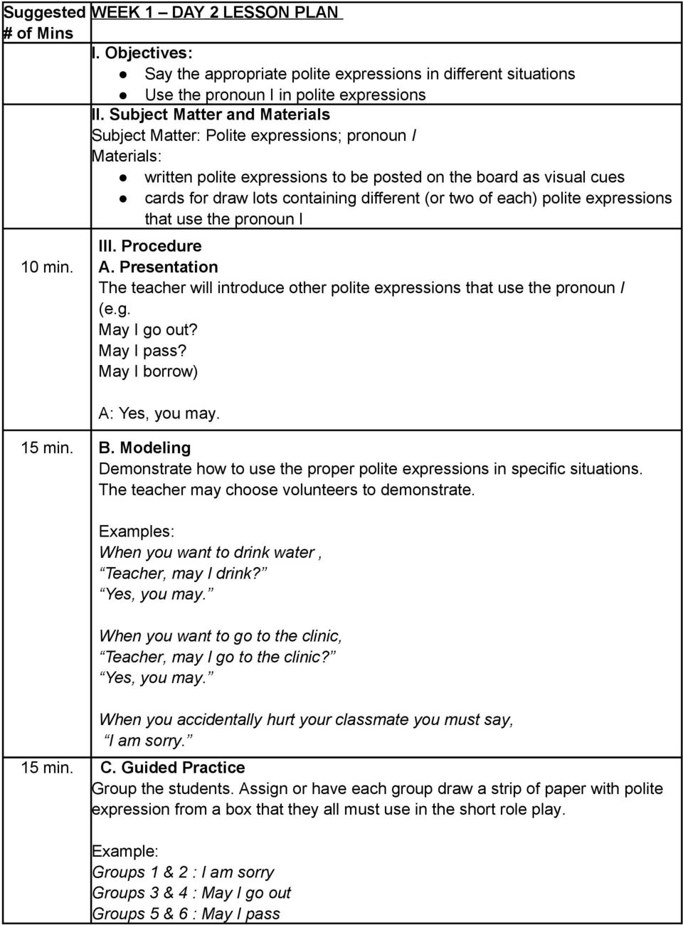 hight resolution of Expressive Objective: Realize the importance of using polite expressions in  showing respect when communicating with others - PDF Free Download