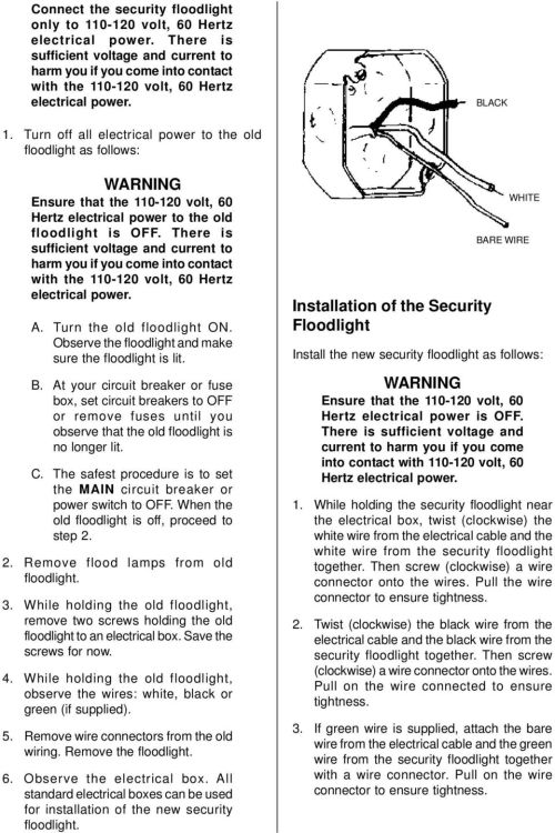 small resolution of turn off all electrical power to the old floodlight as follows warning ensure that the