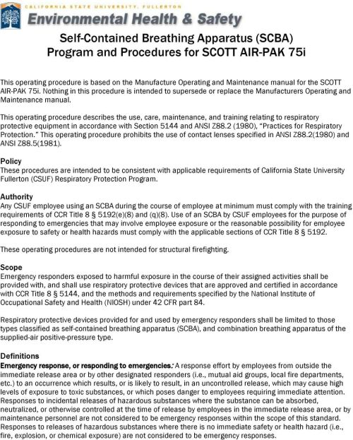 small resolution of this operating procedure describes the use care maintenance and training relating to respiratory