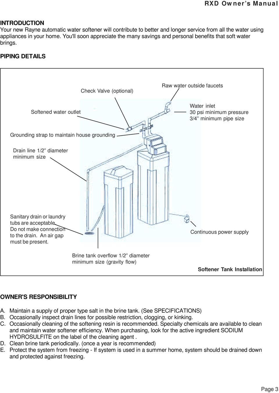 medium resolution of piping details check valve optional raw water outside faucets softened water outlet water inlet