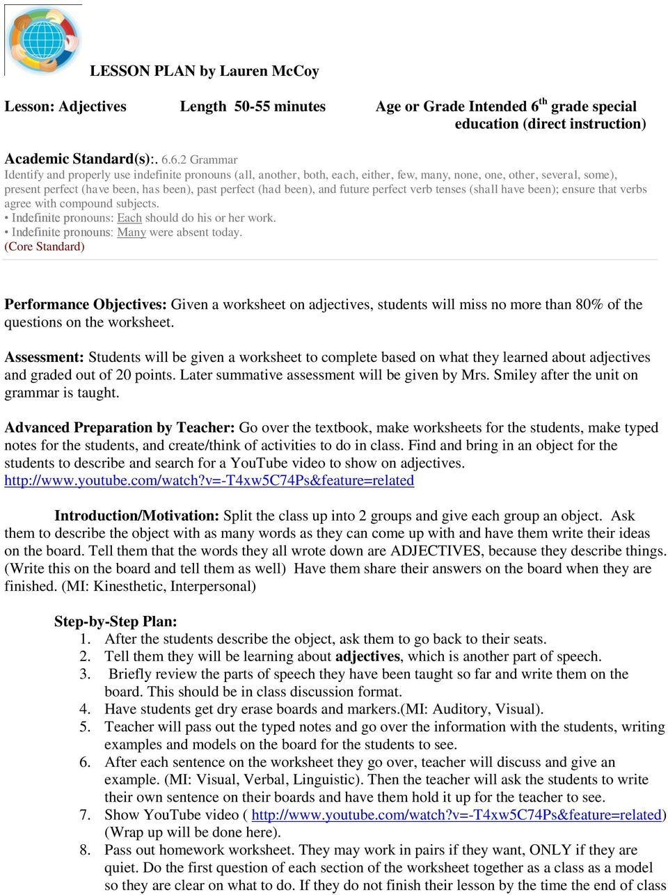 hight resolution of Lesson: Adjectives Length minutes Age or Grade Intended 6 th grade special  education (direct instruction) - PDF Free Download