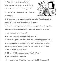 Topic : Ratio and Proportion Word Problems- Worksheet girls and boys have  planned for a picnic. There is a ratio of - PDF Free Download [ 1263 x 960 Pixel ]