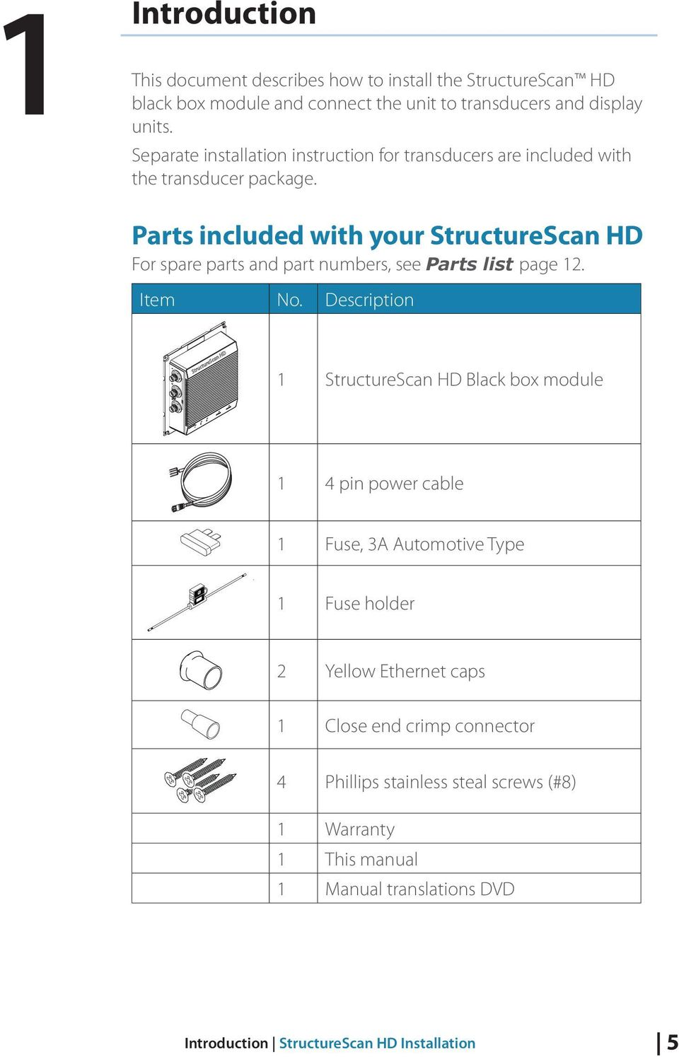 hight resolution of parts included with your structurescan hd for spare parts and part numbers see parts list