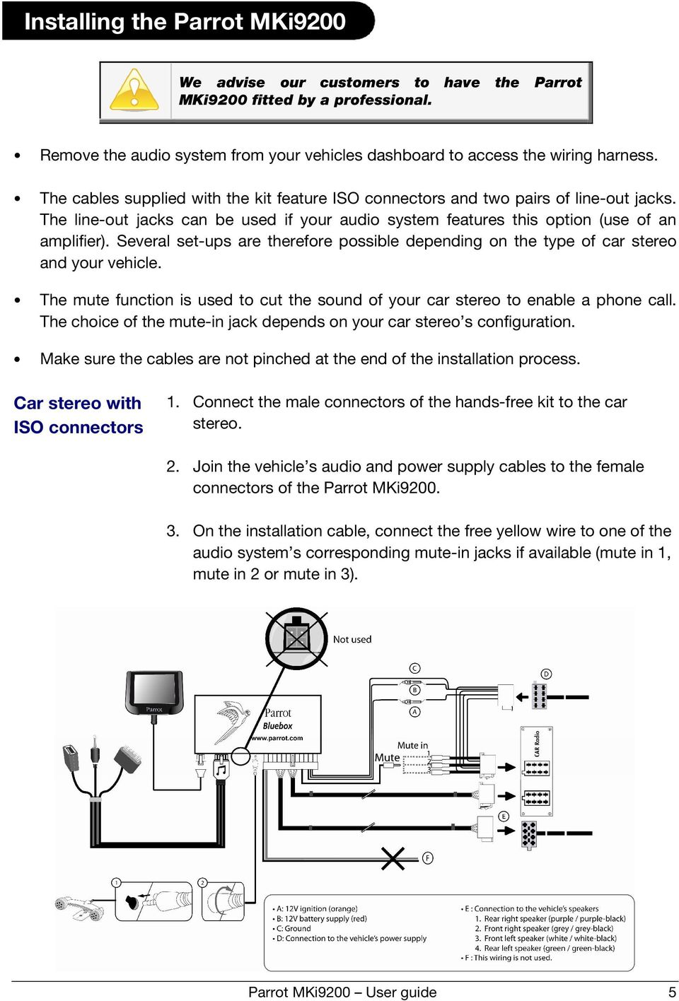 hight resolution of parrot mki9200 user guide 5 several set ups are therefore possible depending on the