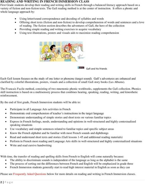 small resolution of FRENCH IMMERSION GRADE ONE - PDF Free Download