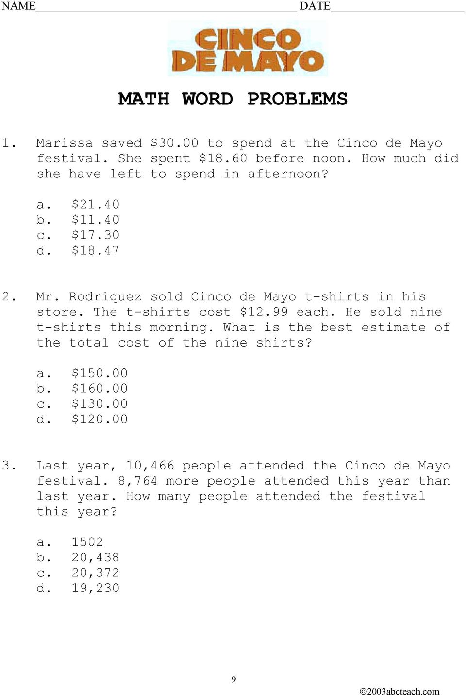 hight resolution of NAME DATE CINCO DE MAYO - PDF Free Download