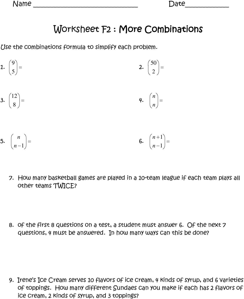hight resolution of Worksheet A2 : Fundamental Counting Principle