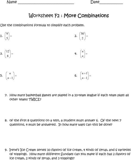 small resolution of Worksheet A2 : Fundamental Counting Principle