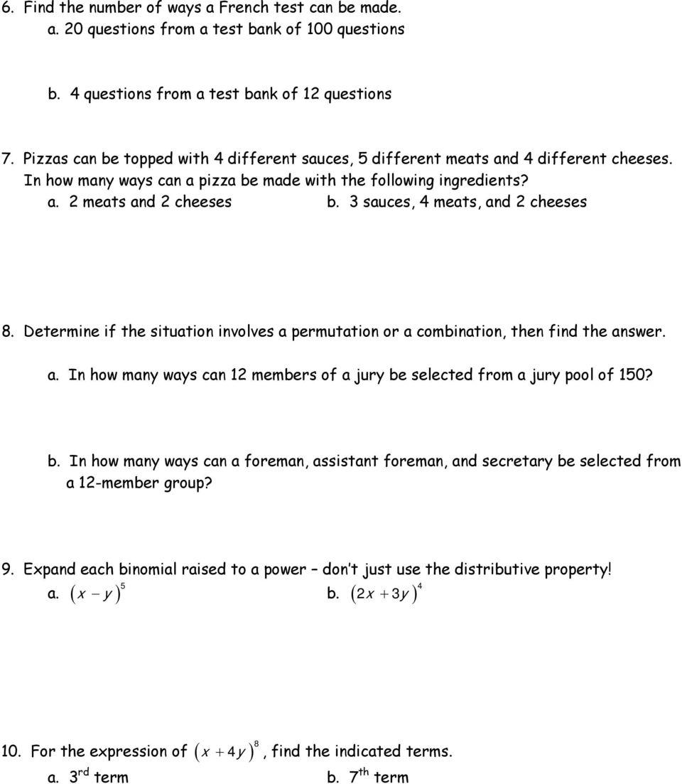 medium resolution of Worksheet A2 : Fundamental Counting Principle