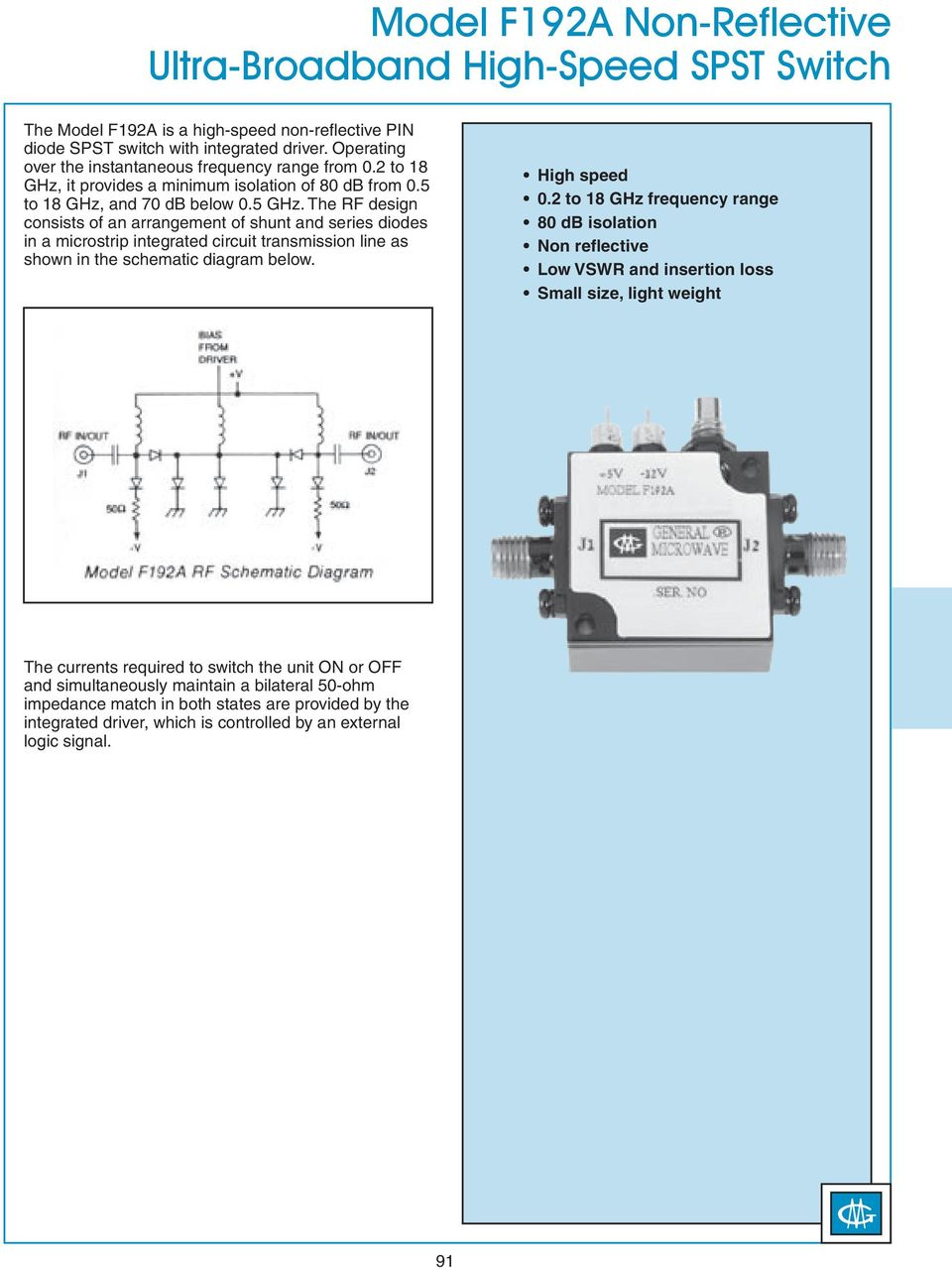 hight resolution of the rf design consists of an arrangement of shunt and series diodes in a microstrip integrated