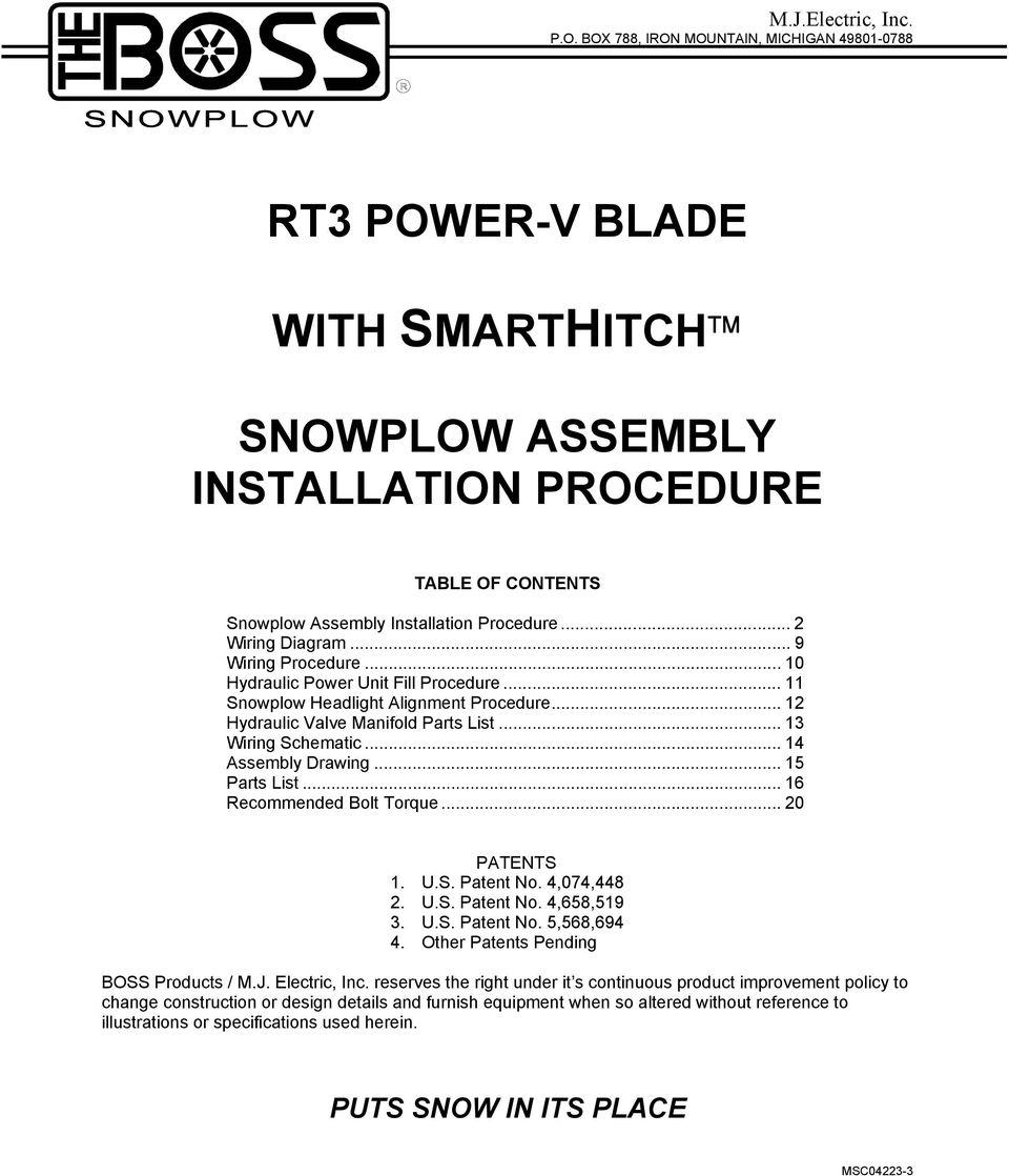 hight resolution of rt3 power v blade snowplow assembly installation procedure pdf boss snow plow lights trip blade boss
