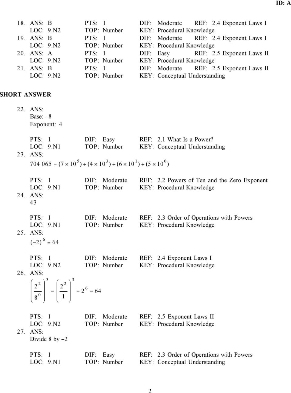 hight resolution of Unit Two Practice Test: Powers and Exponent Laws - PDF Free Download