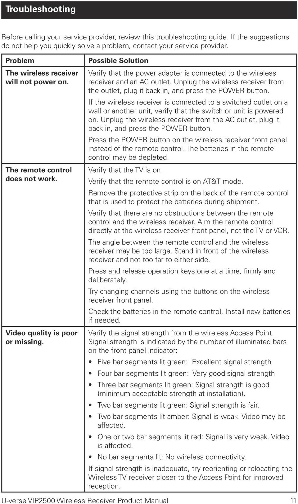 hight resolution of possible solution verify that the power adapter is connected to the wireless receiver and an ac