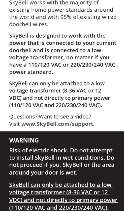 small resolution of skybell can only be attached to a low voltage transformer 8 36