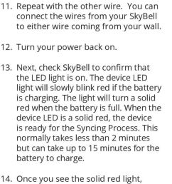you can connect the wires from your skybell to either wire coming from your wall  [ 960 x 1907 Pixel ]