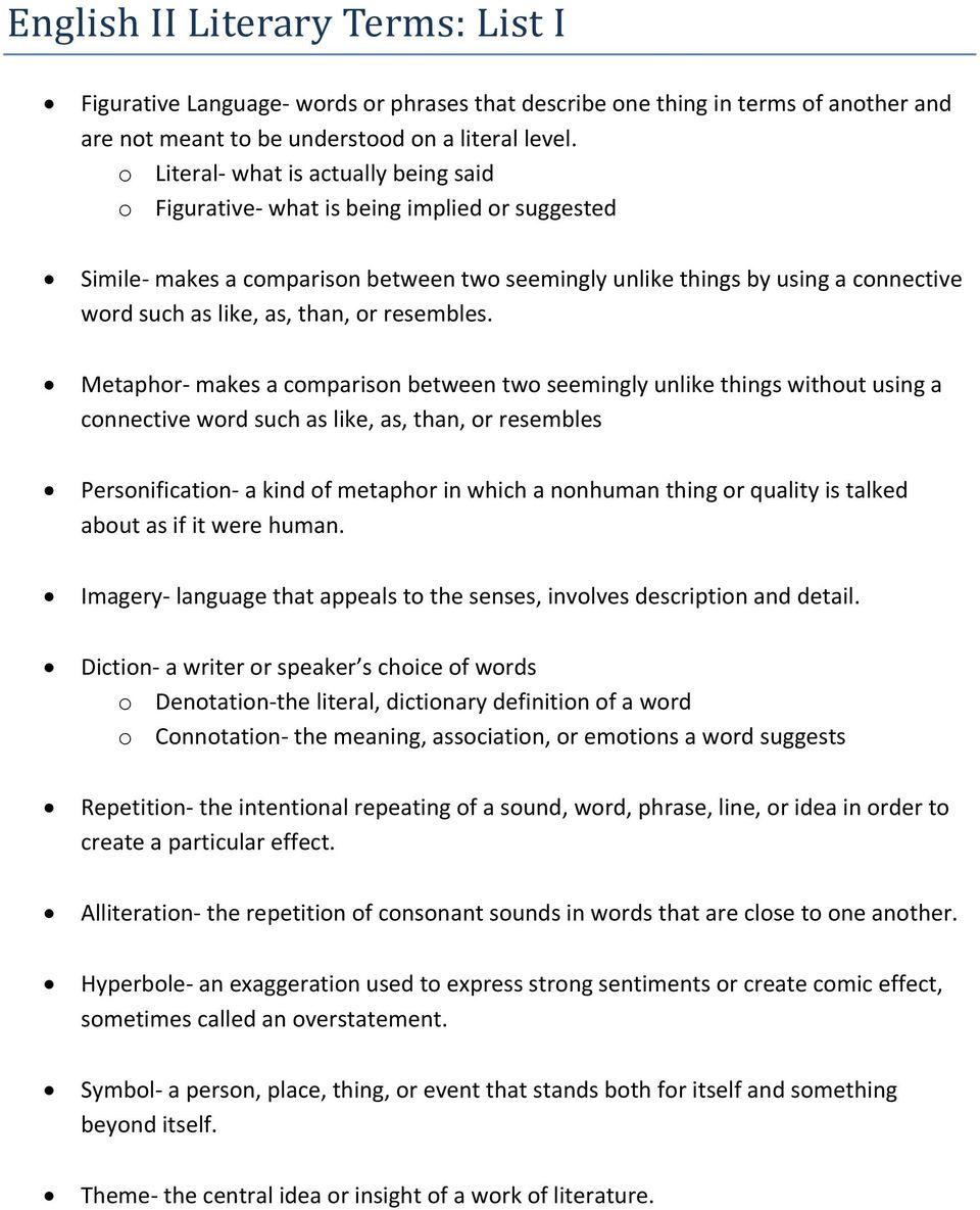 medium resolution of English II Literary Terms: List I - PDF Free Download