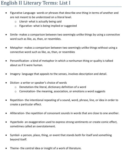 small resolution of English II Literary Terms: List I - PDF Free Download