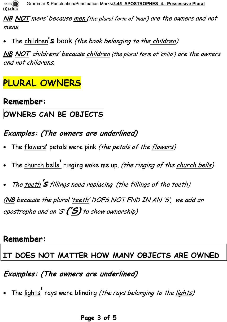 hight resolution of Grammar \u0026 Punctuation/Punctuation Marks/3.45 APOSTROPHES 4.- Possessive  Plural. APOSTROPHES 4. Possessive Plural (i) - PDF Free Download