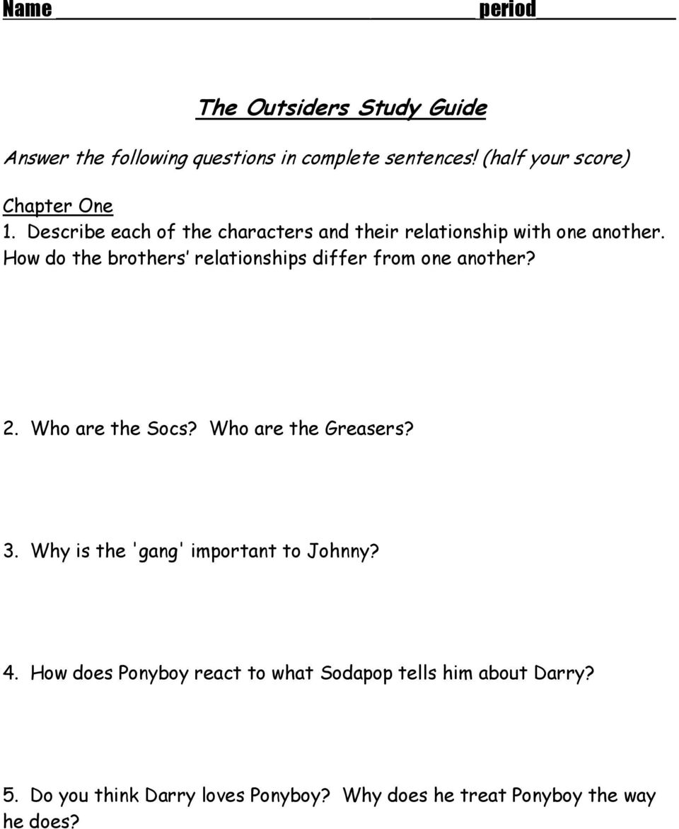 Outsiders Essay Questions The Outsiders Vocabulary Pdf
