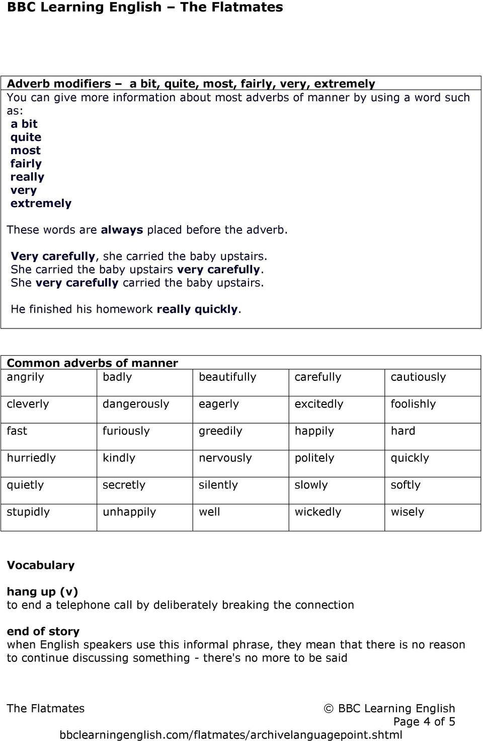 hight resolution of THE FLATMATES Language point: Adverbs of manner - PDF Free Download
