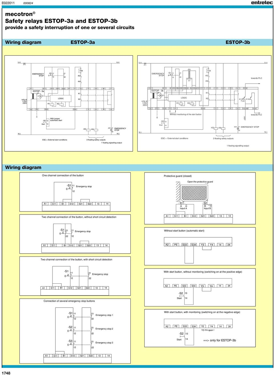hight resolution of floating signalling output wiring diagram one channel connection of the button protective guard closed