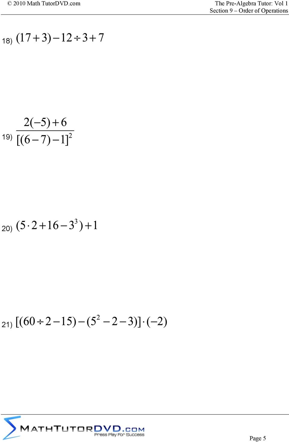 medium resolution of Supplemental Worksheet Problems To Accompany: The Pre-Algebra Tutor: Volume  1 Section 9 Order of Operations - PDF Free Download