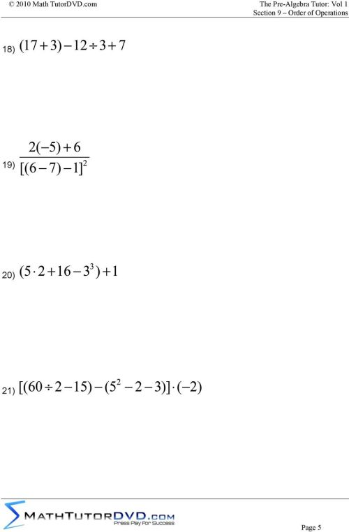 small resolution of Supplemental Worksheet Problems To Accompany: The Pre-Algebra Tutor: Volume  1 Section 9 Order of Operations - PDF Free Download