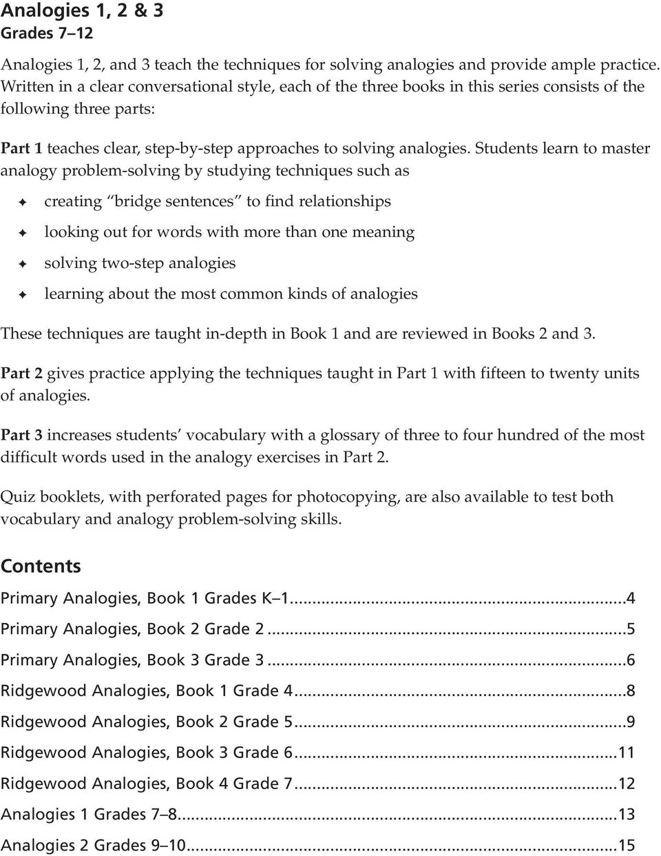 hight resolution of Analogies. Sampler for grades K 12 EDUCATORS PUBLISHING SERVICE - PDF Free  Download