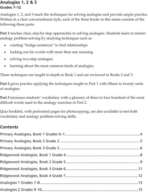 small resolution of Analogies. Sampler for grades K 12 EDUCATORS PUBLISHING SERVICE - PDF Free  Download