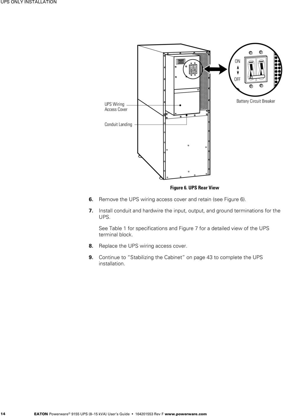 medium resolution of install conduit and hardwire the input output and ground terminations for the ups