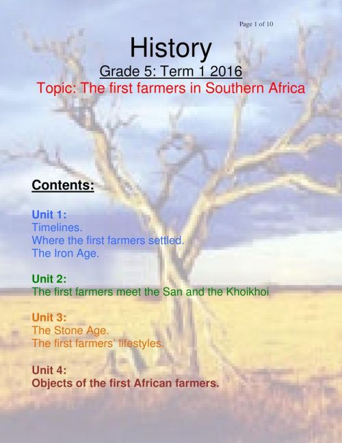 small resolution of History Grade 5: Term Topic: The first farmers in Southern Africa - PDF  Free Download