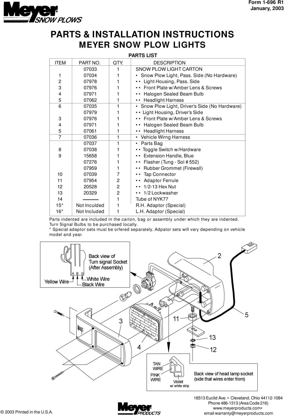 hight resolution of parts installation instructions meyer snow plow lights pdf snow plow light wiring harness w flasher headlight switch for lights