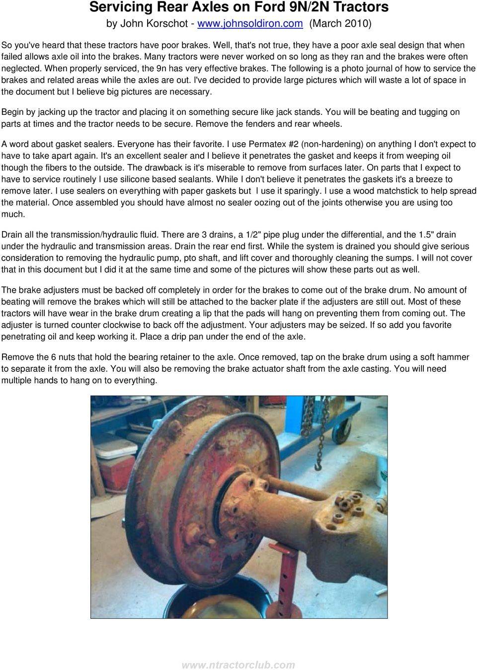hight resolution of when properly serviced the 9n has very effective brakes the following is a photo