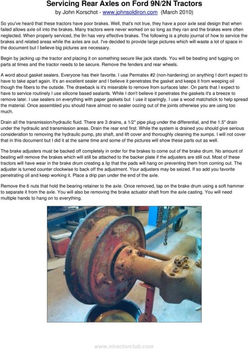 small resolution of when properly serviced the 9n has very effective brakes the following is a photo