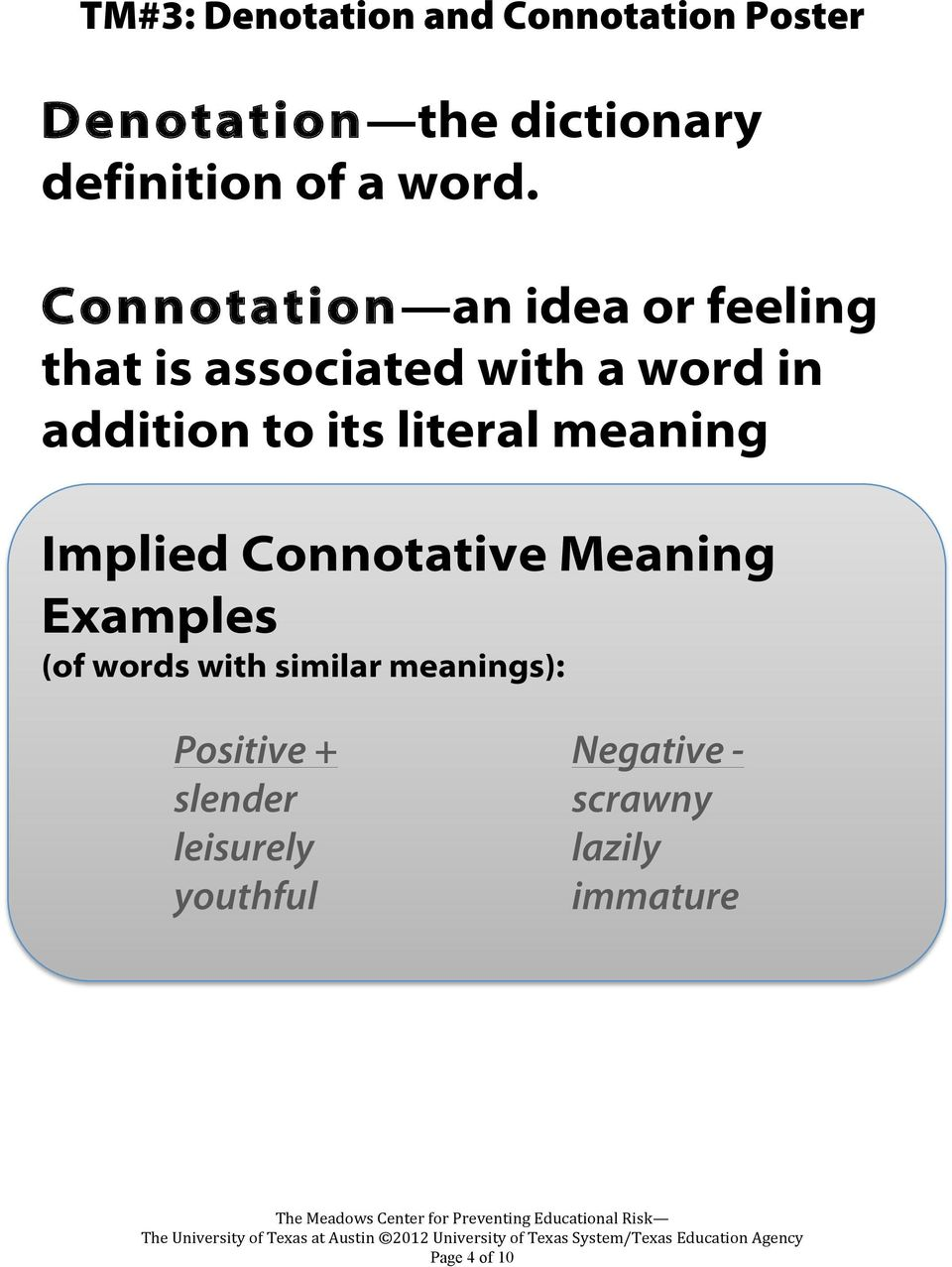 hight resolution of Denotation \u0026 Connotation Writing Module. Teacher Masters - PDF Free Download