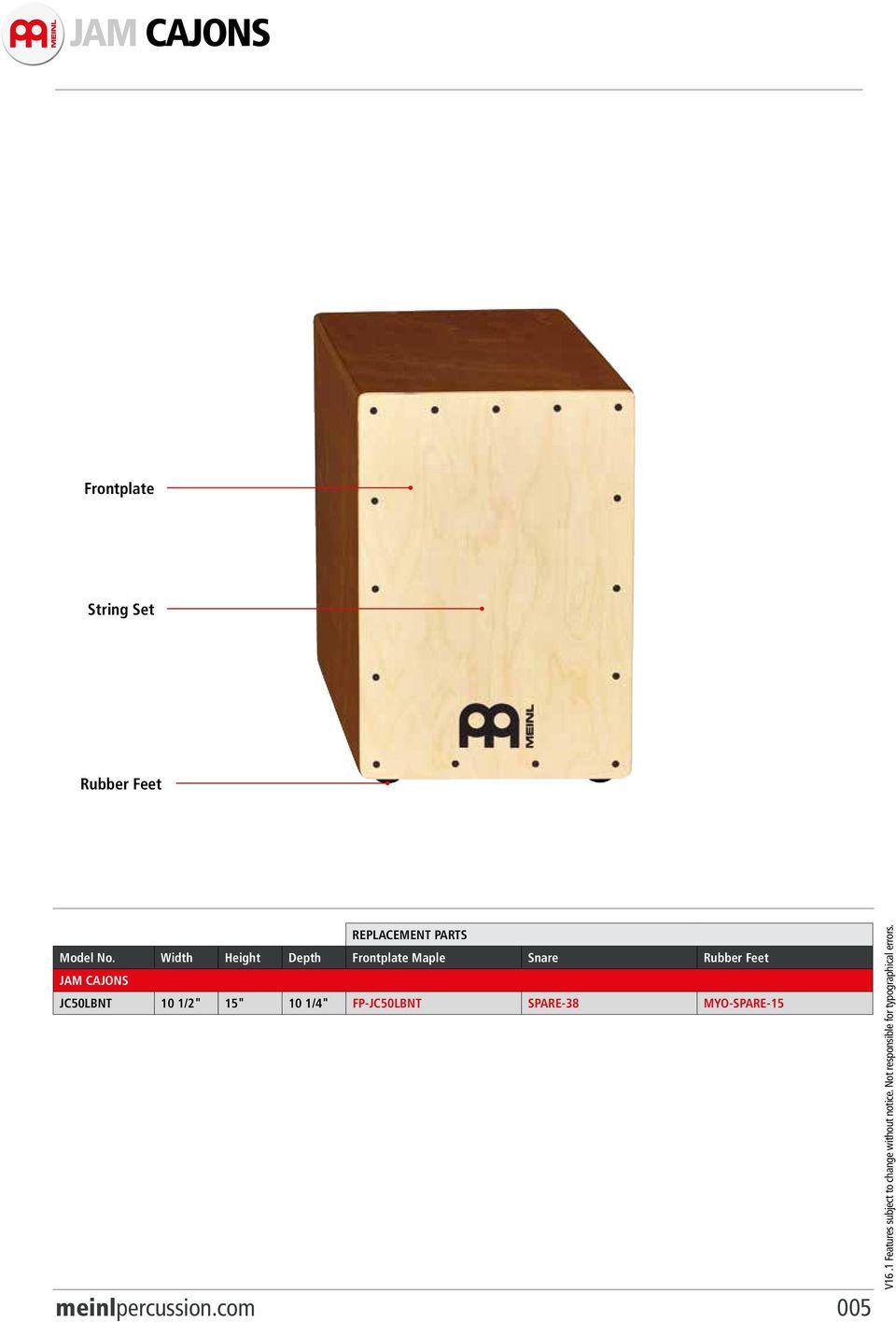 hight resolution of rubber feet jam cajons jc50lbnt 10 1 2 15 10 1 4