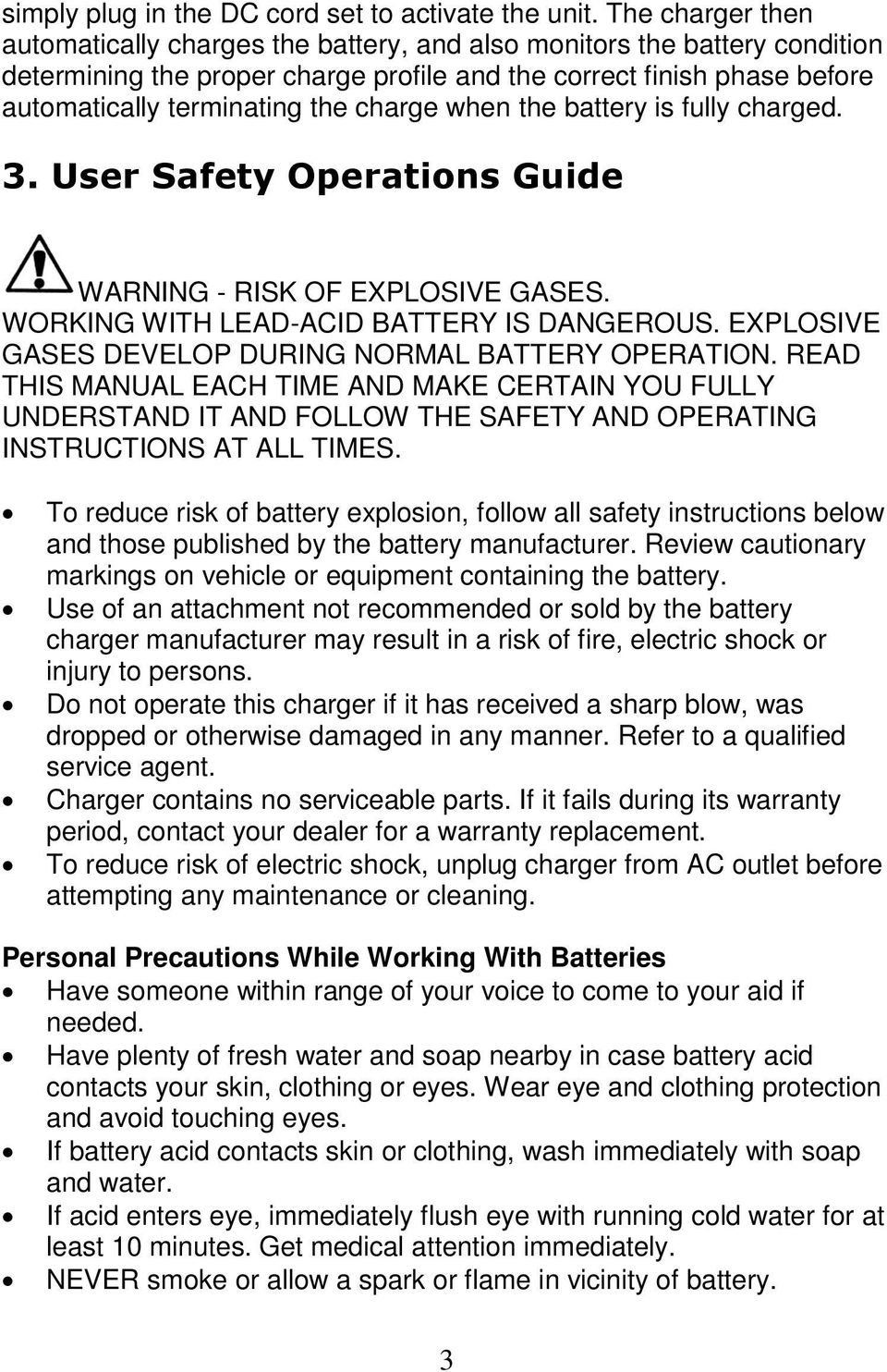medium resolution of charge when the battery is fully charged 3 user safety operations guide warning