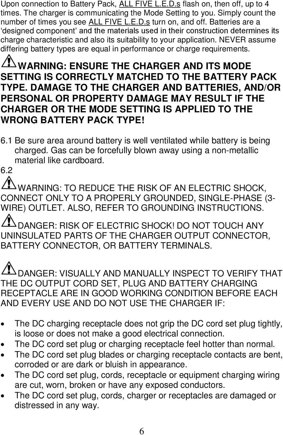medium resolution of never assume differing battery types are equal in performance or charge requirements warning ensure