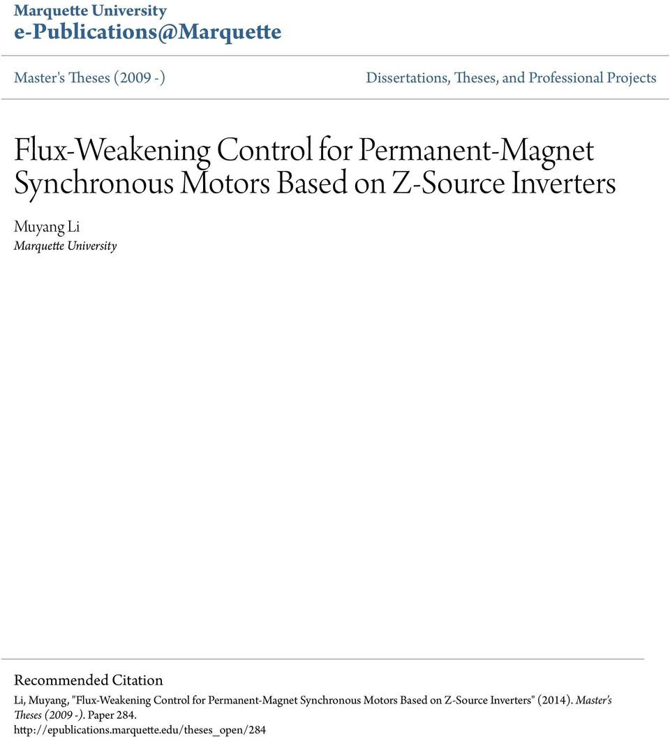 hight resolution of marquette university recommended citation li muyang flux weakening control for permanent