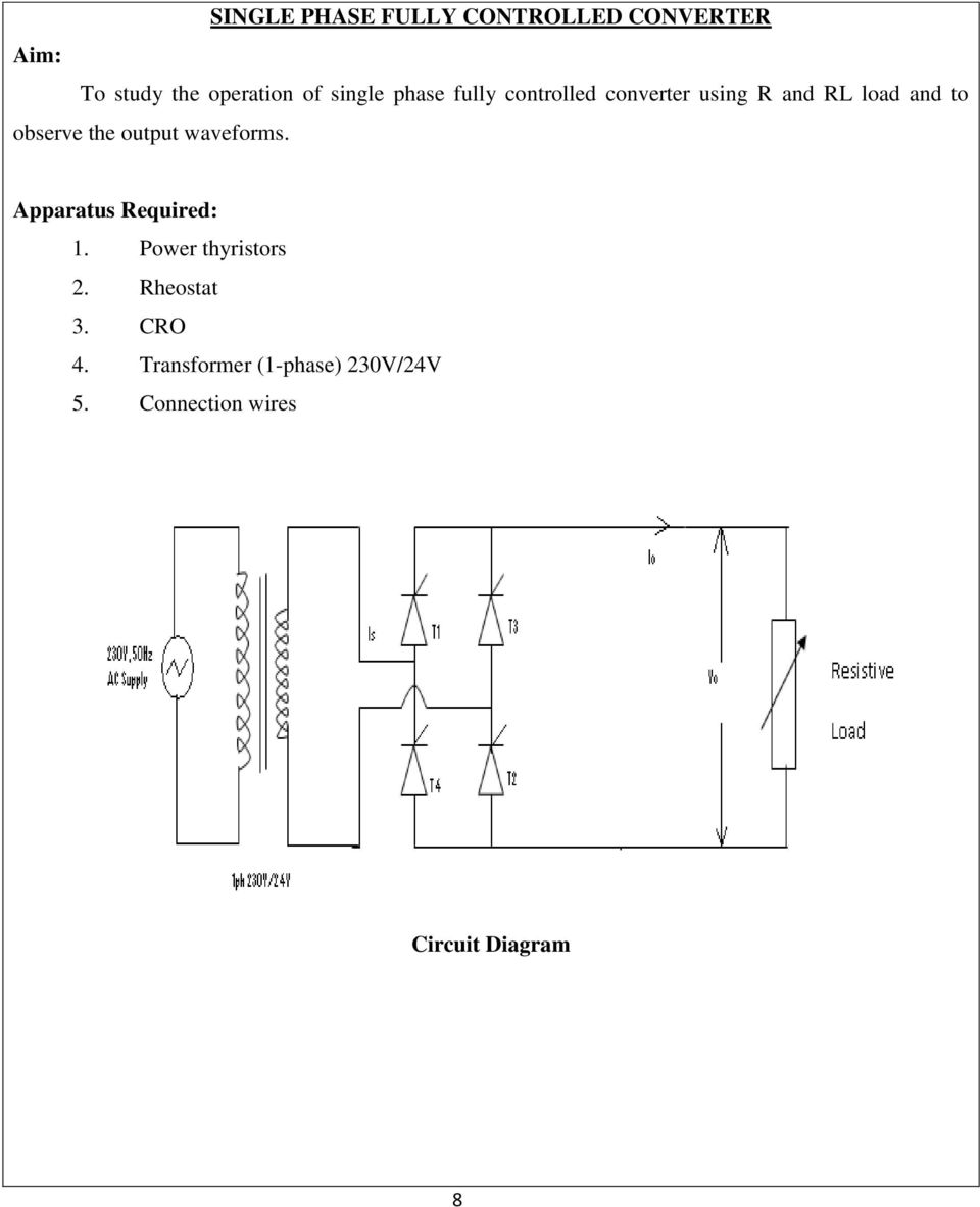 medium resolution of connection wires circuit diagram 8 the output waveforms apparatus required 1 power thyristors 2