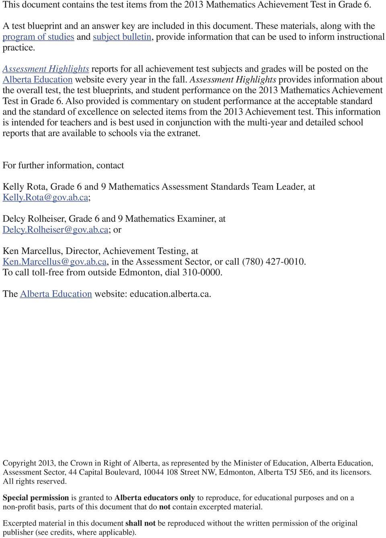 hight resolution of Released 2013 Achievement Test. Mathematics GRADE - PDF Free Download
