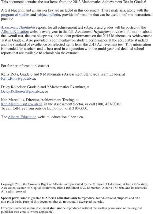 small resolution of Released 2013 Achievement Test. Mathematics GRADE - PDF Free Download