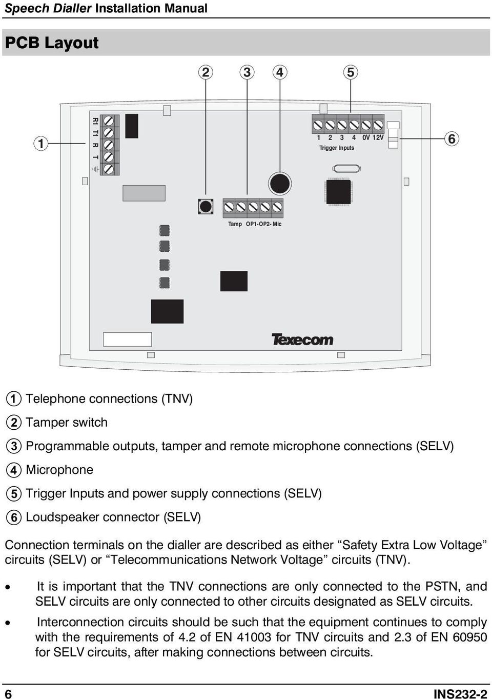 medium resolution of circuits tnv it is imptant that the tnv connections are only connected to 7 connections to the control panel speech dialler installation manual