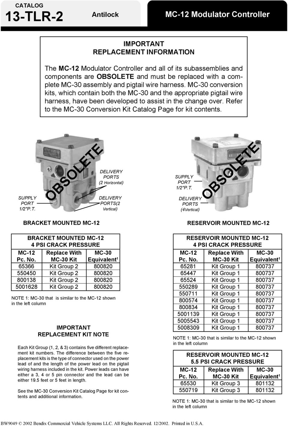 medium resolution of refer to the mc 30 conversion kit catalog page for kit contents supply port